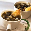 Idaho® Potato and Huitlacoche Soup with Oaxaca Cheese Croutons